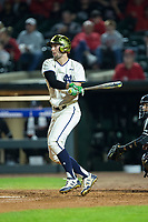 Matt Vierling (24) of the Notre Dame Fighting Irish follows through on his swing against the Louisville Cardinals in Game Eight of the 2017 ACC Baseball Championship at Louisville Slugger Field on May 25, 2017 in Louisville, Kentucky.  The Cardinals defeated the Fighting Irish 10-3.  (Brian Westerholt/Four Seam Images)
