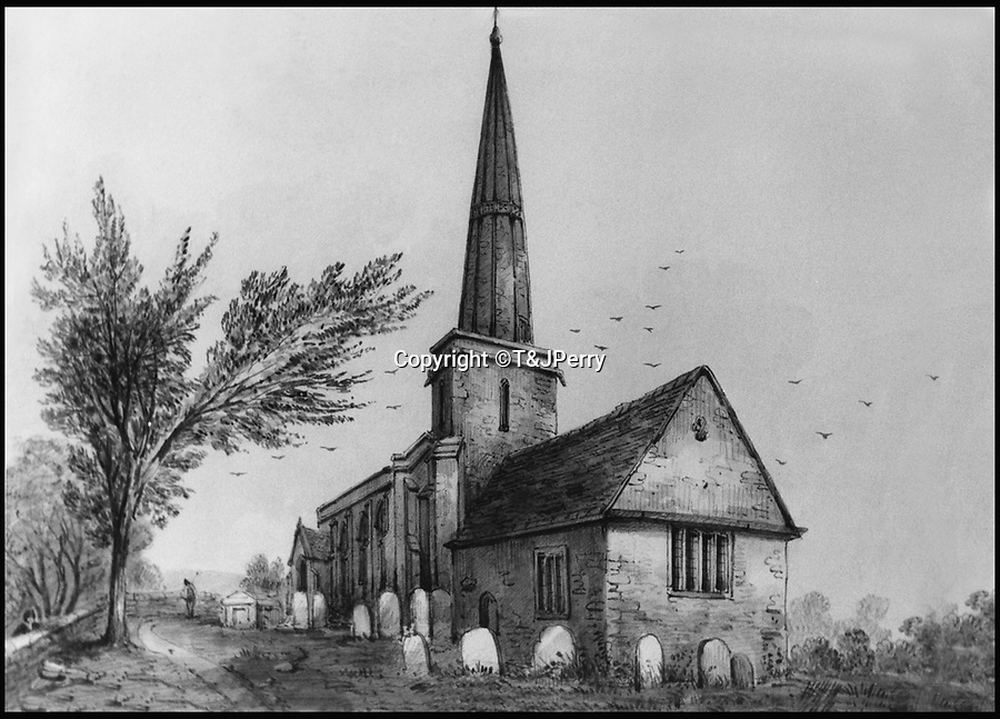 BNPS.co.uk (01202 558833)<br /> Pic: T&JPerry/BNPS<br /> <br /> Drawing of the village church in 1848.<br /> <br /> The little changed Somerset village of Chiselborough whose residents have pieced together their history in photographs.<br /> <br /> A rural village's community has painstakingly put together its social history over the last 40 years, which is now going on display.<br /> <br /> Tony and June Perry first started collecting images of Chiselborough, in south Somerset, 40 years ago for the project which celebrates the village's people, traditions and buildings.<br /> <br /> Dozens of villagers have helped the couple compile 600 photos which are finally going to be shown in a new exhibition.<br /> <br /> The images, which date back to the 1860s, highlight many notable events in Chiselborough's history including the fire of 1890 which saw the pub burn down.<br /> <br /> Other photos show the silver jubilee party of 1935, a school fancy dress day in 1954 and the renovation of the village's 12th century church in 1971.<br /> <br /> Situated on the River Parrett, Chiselborough is five miles west of Yeovil and has a population of just 275 people.
