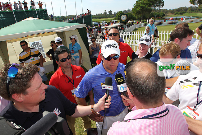 Lee Westwood (ENG)  of the Turkish Airline speaking to the media after loosing to Justin Rose (ENG) in the final of theTurkish Airlines World Golf Final in Antalya Golf Club, Antalya, Turkey..Picture: Fran Caffrey/www.golffile.ie.