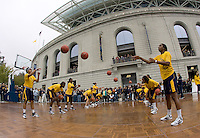 CAL Women's basketball warms up on Goldman Plaza before 115th Big Game Football game at Memorial Stadium in Berkeley, California on October 20th, 2012.  Stanford defeated California, 21-3.