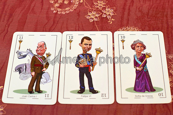 18-04-2016 Madrid King Juan Carlos and Queen Letizia and Princess Leonor and King Felipe as cartoon for the Spanish royals playing cards, drawn by Fernando Corella, for the Spanish Association of Collecting and Research Cards. Photo Credit: PPE/face to face/AdMedia