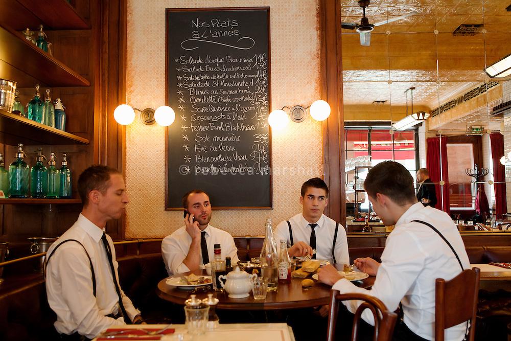 Waiters on their lunchbreak, Bouchon restaurant, Monaco, 23 March 2012