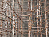 Wooden scaffolding on construction of a water tower, Mysore