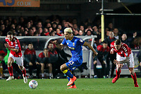 Lyle Taylor of AFC Wimbledon  bears down on goal during the Sky Bet League 1 match between AFC Wimbledon and Charlton Athletic at the Cherry Red Records Stadium, Kingston, England on 10 April 2018. Photo by Carlton Myrie / PRiME Media Images.