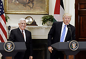 United States President Donald J. Trump gives a joint statement with President Mahmoud Abbas of the Palestinian Authority in the Roosevelt Room  of the White House in Washington, DC, on May 3, 2017. <br /> Credit: Olivier Douliery / Pool via CNP