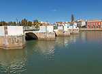 Ponte Romana de Tavira, Roman Bridge spanning the River Gilao, town of Tavira, Algarve, Portugal, Europe