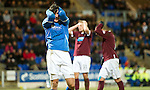 Hearts v St Johnstone...14.02.12.. Scottish Cup 5th Round Replay.Fran Sandaza holds his head.Picture by Graeme Hart..Copyright Perthshire Picture Agency.Tel: 01738 623350  Mobile: 07990 594431