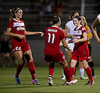 Diana Matheson (8) of the Washington Spirit celebrates her goal with teammates Ali Krieger (11) and Stephanie Ochs (22) at the Maryland SoccerPlex in Boyds, MD. The Washington Spirit tied FC Kansas City, 1-1.