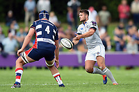 Josh Lewis of Bath Rugby passes the ball. Pre-season friendly match, between Bristol Rugby and Bath Rugby on August 12, 2017 at the Cribbs Causeway Ground in Bristol, England. Photo by: Patrick Khachfe / Onside Images