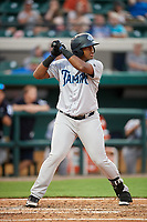 Tampa Tarpons left fielder Alexander Palma (18) at bat during a game against the Lakeland Flying Tigers on April 5, 2018 at Publix Field at Joker Marchant Stadium in Lakeland, Florida.  Tampa defeated Lakeland 4-2.  (Mike Janes/Four Seam Images)