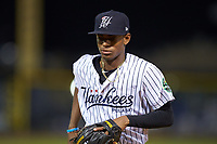 Pulaski Yankees shortstop Alexander Vargas (69) jogs off the field between innings of the game against the Burlington Royals at Calfee Park on September 1, 2019 in Pulaski, Virginia. The Royals defeated the Yankees 5-4 in 17 innings. (Brian Westerholt/Four Seam Images)