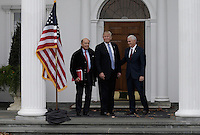 United States President-elect Donald Trump (C) and Vice President-elect Mike Pence (R) pose with investor  Wilbur Ross (L) at the clubhouse of Trump International Golf Club, in Bedminster Township, New Jersey, USA, 20 November 2016.<br /> Credit: Peter Foley / Pool via CNP /MediaPunch