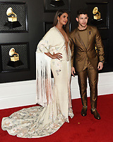 LOS ANGELES - JAN 26:  Priyanka Chopra, Nick Jonas at the 62nd Grammy Awards at the Staples Center on January 26, 2020 in Los Angeles, CA