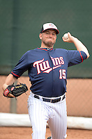 Minnesota Twins Glenn Perkins (15) during practice on February 25, 2014 at Hammond Stadium in Fort Myers, Florida.  (Mike Janes Photography)