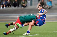 LEVIN, NEW ZEALAND - OCTOBER 28: Ryan Knell of Wairarapa (L) and Tainui Brown of Horowhenua Kapiti in action  during the Lochore Cup Final match between Horowhenua Kapiti and Wairarapa Bush at Levin Domain on October 28, 2018 in Levin, New Zealand. <br /> Photo by Masanori Udagawa. <br /> www.photowellington.photoshelter.com