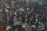 Battle of San Jacinto, detail, 1895, by Henry McArdle, 1836-1908, in the Senate, in the Texas State Capitol, designed in 1881 by Elijah E Myers and built 1882-88, Austin, Texas, USA. The painting depicts the conflict and chaos as 800 Texans defeat Santa Anna's 1,600 Mexican Army soldiers on April 21st, 1836, ending the Texas Revolution. Picture by Manuel Cohen