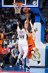 Real Madrid's player Jeffery Taylor and Valencia Basket's Rafa Martinez during the first match of the Semi Finals of Liga Endesa Playoff at Barclaycard Center in Madrid. June 02. 2016. (ALTERPHOTOS/Borja B.Hojas)