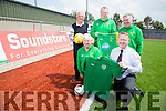 Launch of Kerry's Eye EURO 2016 competition at Mounthawk Park on Monday. Pictured front L-r John O'Regan (Secretary KDL), and Anthony Guerin, Soundstore Tralee Manager Back l-r  Jim O'Gorman, Kerry's Eye Sports Editor, Tommy Naughton, Denis Guerin (KDL)