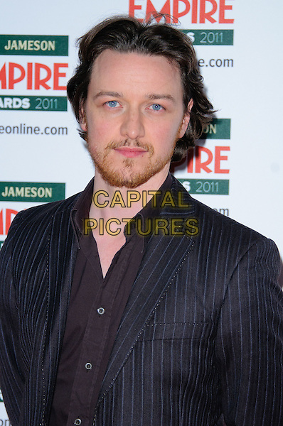 JAMES McAVOY .Attending  the Jameson Empire Film Awards at the Grosvenor House Hotel, Park Lane, London, England, UK,.March 27th 2011..portrait headshot beard facial hair brown shirt pinstripe grey gray suit jacket .CAP/CJ.©Chris Joseph/Capital Pictures.