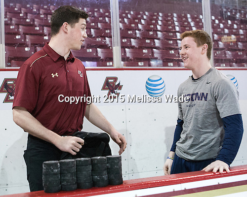 Stephen Shea (BC - Student Manager), Evan Richardson (UConn - 19) - The Boston College Eagles defeated the visiting University of Connecticut Huskies 3-2 on Saturday, January 24, 2015, at Kelley Rink in Conte Forum in Chestnut Hill, Massachusetts.