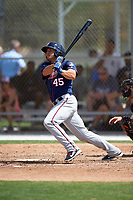 Minnesota Twins Shannon Wilkerson (45) hits a home run during a minor league Spring Training game against the Baltimore Orioles on March 16, 2016 at CenturyLink Sports Complex in Fort Myers, Florida.  (Mike Janes/Four Seam Images)
