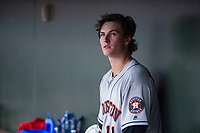 AFL East starting pitcher Forrest Whitley (11), of the Scottsdale Scorpions and the Houston Astros organization, in the dugout during the Fall Stars game at Surprise Stadium on November 3, 2018 in Surprise, Arizona. The AFL West defeated the AFL East 7-6 . (Zachary Lucy/Four Seam Images)