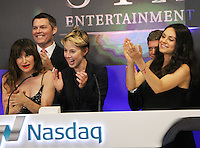 NEW YORK, NY-July 28:  Robert Simonds, Kathryn Hahn, Sophie Watts, Robert Simonds, Mila Kunis at STX Entertainment '& Bad Moms' cast  Ring The NASDAQ Closing Bell at Time Square New York. NY July 28, 2016. Credit:RW/MediaPunch