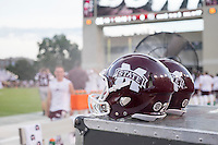 Game Day: MSU Football versus South Carolina.<br /> Helmets on sideline<br />  (photo by Robert Lewis / &copy; Mississippi State University)