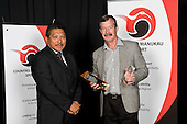 Sportsman of the Year winner Simon Child,represented by his father Rick with Henare Clarke from Downer EDi Works. Counties Manukau Sport 17th annual Sporting Excellence Awards held at the Telstra Clear Pacific Events Centre, Manukau City, on November 27th 2008.