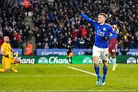 9th March 2020; King Power Stadium, Leicester, Midlands, England; English Premier League Football, Leicester City versus Aston Villa; Jamie Vardy of Leicester City celebrates his 2nd goal for 3-0 in the 80th minute