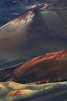 Close up image of three of the many cinder cones in the crater of  HALEAKALA NATIONAL PARK on Maui in Hawaii