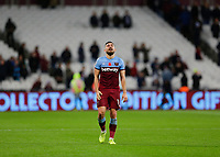 2nd November 2019; London Stadium, London, England; English Premier League Football, West Ham United versus Newcastle United; A dejected Robert Snodgrass of West Ham United walks towards the West Ham United fans after full time  - Strictly Editorial Use Only. No use with unauthorized audio, video, data, fixture lists, club/league logos or 'live' services. Online in-match use limited to 120 images, no video emulation. No use in betting, games or single club/league/player publications