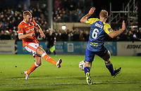 Blackpool's Chris Taylor shoots under pressure from  Solihull Moors' Alex Gudger<br /> <br /> Photographer Andrew Kearns/CameraSport<br /> <br /> The Emirates FA Cup Second Round - Solihull Moors v Blackpool - Friday 30th November 2018 - Damson Park - Solihull<br />  <br /> World Copyright © 2018 CameraSport. All rights reserved. 43 Linden Ave. Countesthorpe. Leicester. England. LE8 5PG - Tel: +44 (0) 116 277 4147 - admin@camerasport.com - www.camerasport.com