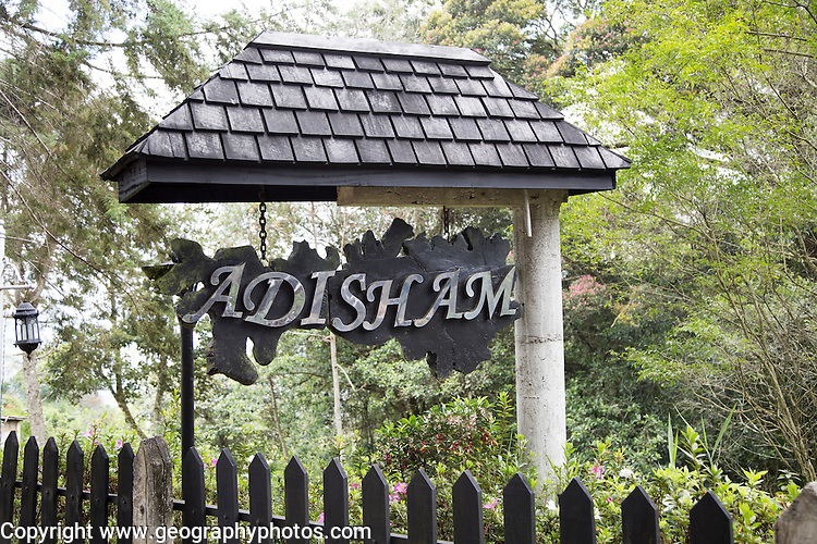 Sign for St Benedict's Monastery, Adisham, Haputale, Haputale, Badulla District, Uva Province, Sri Lanka, Asia