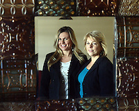 DOYLESTOWN, PA - FEBRUARY 13: From left, Kristen Valentin and Dianne Schilling, reflected in a mirror, started offering airbrush tanning services six years ago at Bella Sorrel February 13, 2015 in Doylestown, Pennsylvania.  They operate a salon with three airbrush tanning rooms and are looking to franchise their concept across the country.  (Photo by William Thomas Cain/Cain Images)