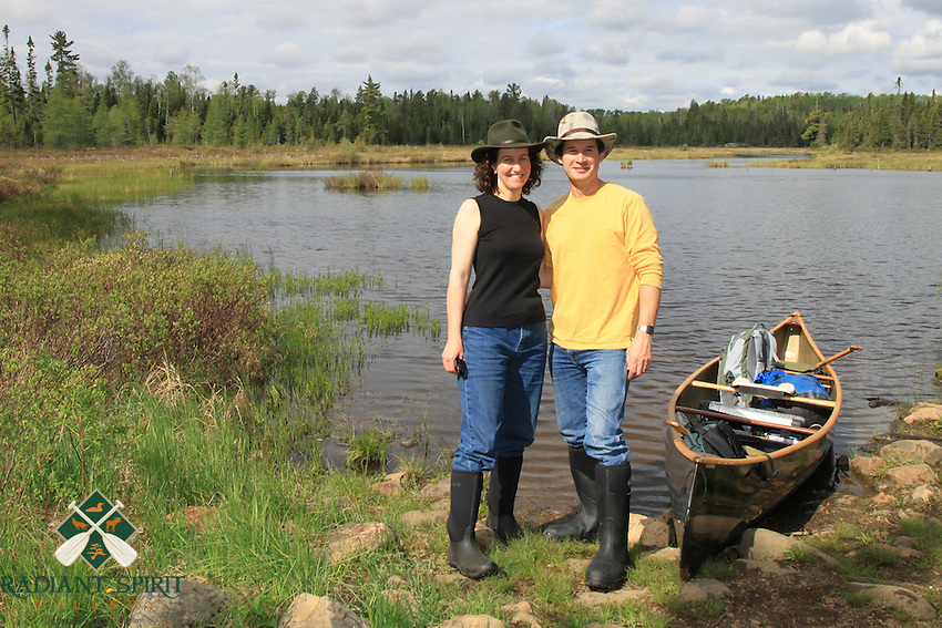 Dawn LaPointe and Gary Fiedler at Kelso River near Sawbill in Boundary Waters Canoe Area Wilderness (BWCAW)