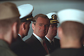 United States President George W. Bush meets with military personnel aboard the USS Enterprise in Norfolk, Virginia, Friday, December 7, 2001..Mandatory Credit: Eric Draper - White House via CNP.