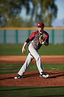 Joshua Brown (16) of Faith Lutheran High School in Las Vegas, Nevada during the Baseball Factory All-America Pre-Season Tournament, powered by Under Armour, on January 13, 2018 at Sloan Park Complex in Mesa, Arizona.  (Zachary Lucy/Four Seam Images)