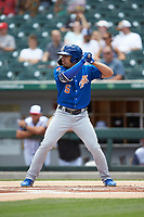 Kean Wong (5) of the Durham Bulls at bat against the Charlotte Knights at BB&T BallPark on May 27, 2019 in Charlotte, North Carolina. The Bulls defeated the Knights 10-0. (Brian Westerholt/Four Seam Images)