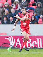Picture by Allan McKenzie/SWpix.com - 04/03/2017 - Rugby League - Betfred Super League - Salford Red Devils v Warrington Wolves - AJ Bell Stadium, Salford, England - Gareth O'Brien kicks a conversion, AJ Bell, branding.