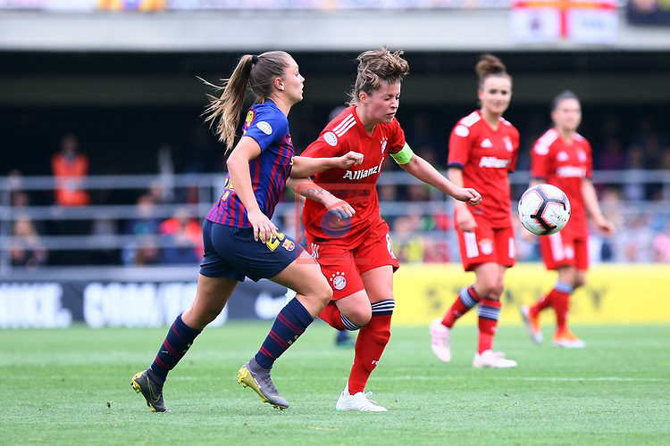 UEFA Women's Champions League 2018/2019.<br /> Semi Finals<br /> FC Barcelona vs FC Bayern Munchen: 1-0.<br /> Lieke Martens vs Melanie Leupolz.