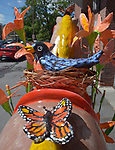 """A view of """"In a Meadow"""" created by artist, Toni Weidenbacher, one of the """"Rockin' Around Saugerties"""" theme Statues on display throughout the Village of Saugerties, NY, on Sunday, June 4, 2017. Photo by Jim Peppler. Copyright/Jim Peppler-2017."""