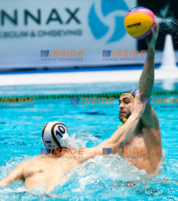 Eindhoven , Netherlands (NED) 19/1/2012.LEN European  Water Polo Championships 2012.Day 04 - Men.Germany (White) - Spain (Blue)..GER.10 OELER Moritz...Foto Insidefoto / Giorgio Scala