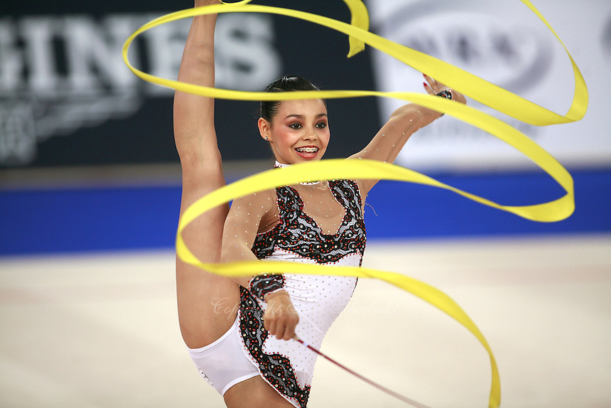 September 19, 2007; Patras, Greece;  Rut Castillo of Mexico split leaps with ribbon at 2007 World Championships Patras. Photo by Tom Theobald. ..