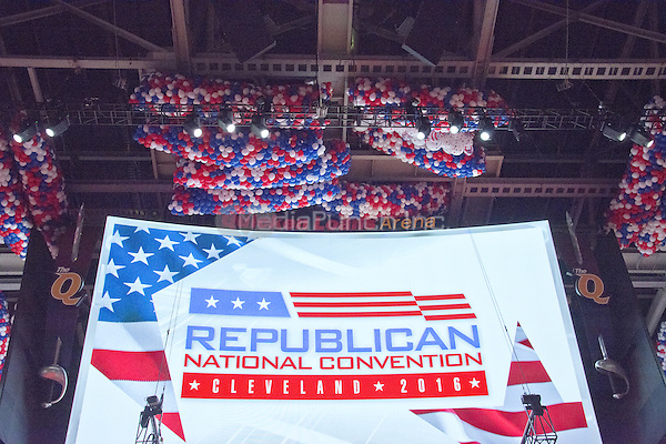 Balloons in the ceiling of the Quicken Loans Arena prior to the start of the 2016 Republican National Convention in Cleveland, Ohio on Saturday, July 16, 2016.<br /> Credit: Ron Sachs / CNP/MediaPunch<br /> (RESTRICTION: NO New York or New Jersey Newspapers or newspapers within a 75 mile radius of New York City)