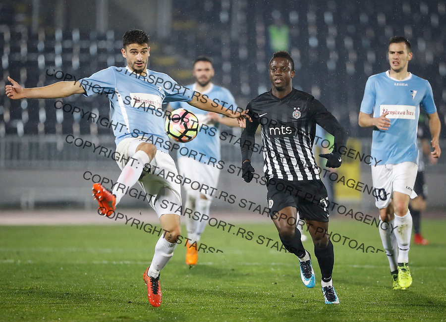 Fudbal Super League Season 2017-2018<br /> Partizan v Spartak (Subotica)<br /> Dejan Kerkez (L) and Theophilus Solomon<br /> Beograd, 26.11.2017.<br /> foto: Srdjan Stevanovic/Starsportphoto &copy;