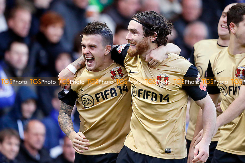 O's 2nd goalscorer Dean Cox celebrates with Romain Vincelot<br /> -  Peterborough Utd v Leyton Orient  - SkyBet League One Football Match at the London Road- 2/11/13 - MANDATORY CREDIT:Simon O&quot;Connor/TGSPHOTO - Self billing applies where appropriate - 0845 094 6026 - contact@tgsphoto.co.uk - NO UNPAID USE