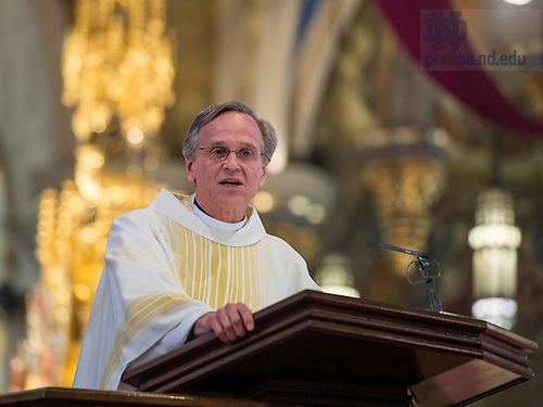Mar. 4, 2015; University of Notre Dame President Rev. John Jenkins, C.S.C. gives the eulogy at the funeral Mass of President Emeritus Rev. Theodore M. Hesburgh, C.S.C. in the Basilica of the Sacred Heart. (Photo by Barbara Johnston/University of Notre Dame)