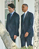 United States President Barack Obama, right, and Prime Minister Justin Trudeau of Canada, left, walk on the Colonnade to the Oval Office following an Arrival Ceremony on the South Lawn of the White House in Washington, DC on Thursday, March 10, 2016. <br /> Credit: Ron Sachs / CNP