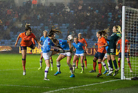 11th January 2020; Academy Stadium, Manchester, Lancashire, England; The FAs Women's Super League, Manchester City Women versus Everton Women; Gabrielle George of Everton Women  (far left) scores a late headed consolation goal for Everton to make the score 3-1 City Women  - Editorial Use